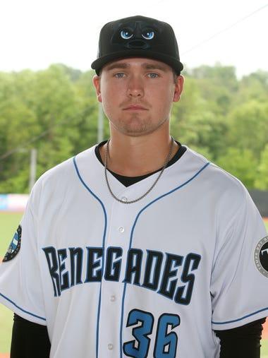 Hudson Valley Renegades' pitcher, #36 Trey Cumbie at