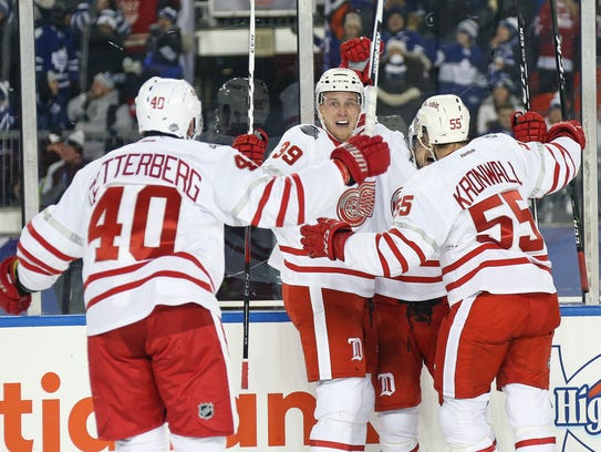 Red Wings forward Anthony Mantha celebrates a goal