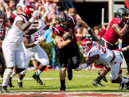OSouth Carolina Gamecocks tight end Hayden Hurst (81)