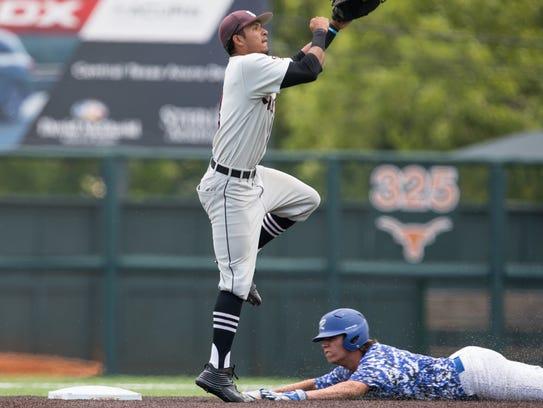 Sinton's shortstop Jordan Martinez jumps throw to second
