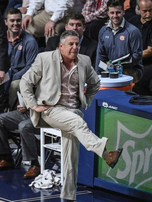 Auburn coach Bruce Pearl reacts to a foul call during the team's NCAA college basketball game against Mississippi in Oxford, Miss., on Saturday, Feb. 11, 2017. Mississippi won 90-84. (Bruce Newman/Oxford Eagle via AP)