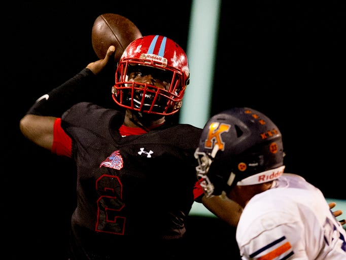 Austin East's Chris Hunter (2) looks to pass during