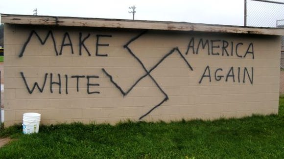 One of the many reported instances of graffiti after