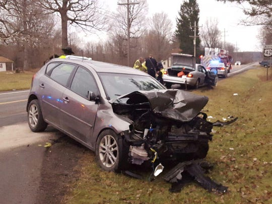 Traffic accident at U.S. 42 and Township Road 653 Saturday.