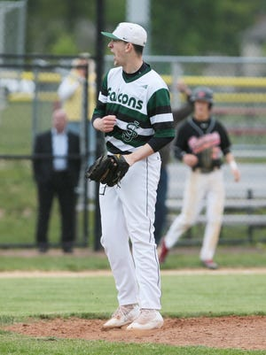 St. Joseph pitcher Mike Farr (24) reacts to striking out the last batter to throw a no-hitter for the 1-0 win against Woodbridge in GMC Tournament quarterfinals in North Brunswick on May 18, 2016.