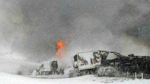 Flames burned for hours after the crash involving 100 vehicles on Jan. 9 along I-94 between Battle Creek and Galesburg.