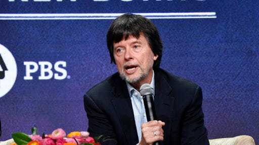 "FILE - Ken Burns, director of the PBS documentary series ""Country Music,"" speaks in a panel discussion during the Television Critics Association Summer Press Tour on July 29, 2019, in Beverly Hills, Calif. Burns says he has eight new projects in the works, including deep-dive looks at Benjamin Franklin, Muhammad Ali, Leonard da Vinci and Ernest Hemingway. PBS announced a new online home for all the work of Burns and other documentarians, a subscription streaming service that will start next month. Besides Burns' library, the service will also have work from ""NOVA"" and ""Frontline."