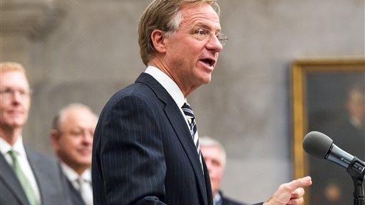 Gov. Bill Haslam announces a healthier communities initiative March 11 at the state Capitol in Nashville. The governor said that he is willing to risk a second defeat of his Insure Tennessee proposal to highlight the need for improving health standards in the state.