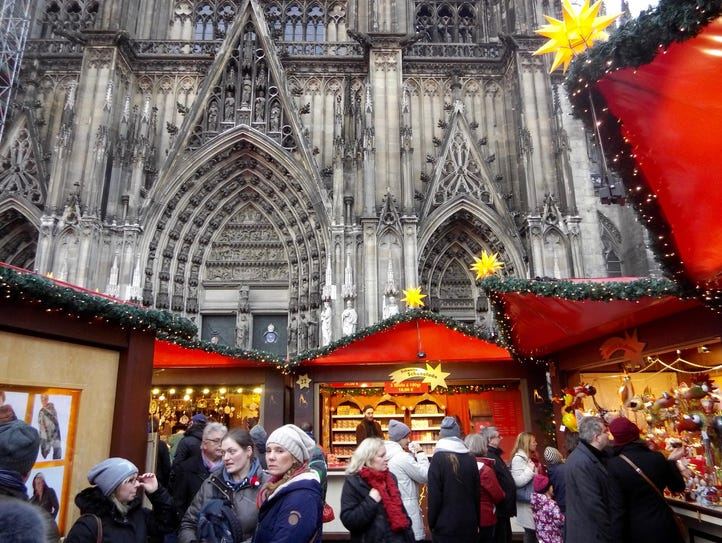 The Cologne Cathedral looms large at the Weihnachtsmarkt