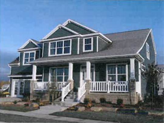 A single-family homes designed by Mayberry Homes, which is located in the Hawk Nest Community in East Lansing.