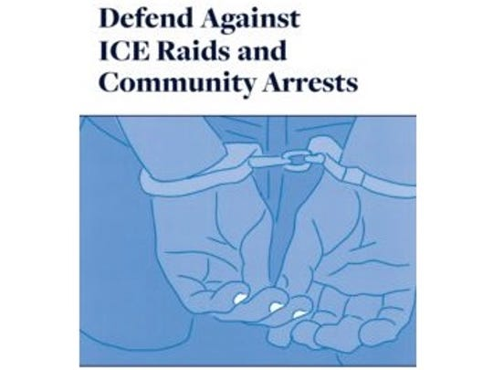 The cover of a handbook for lawyers and community workers aiding undocumented immigrants facing arrest or detention.