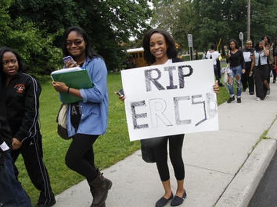 Spring Valley High School students protest East Ramapo budget cuts in the fall.