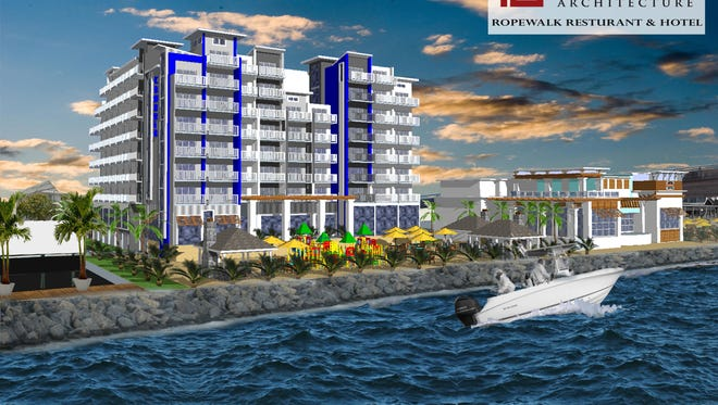 How a proposed eight-story hotel and restaurant might look at the site of a dismantled concrete plant in Ocean City on the bayside between First Street and the Route 50 bridge.