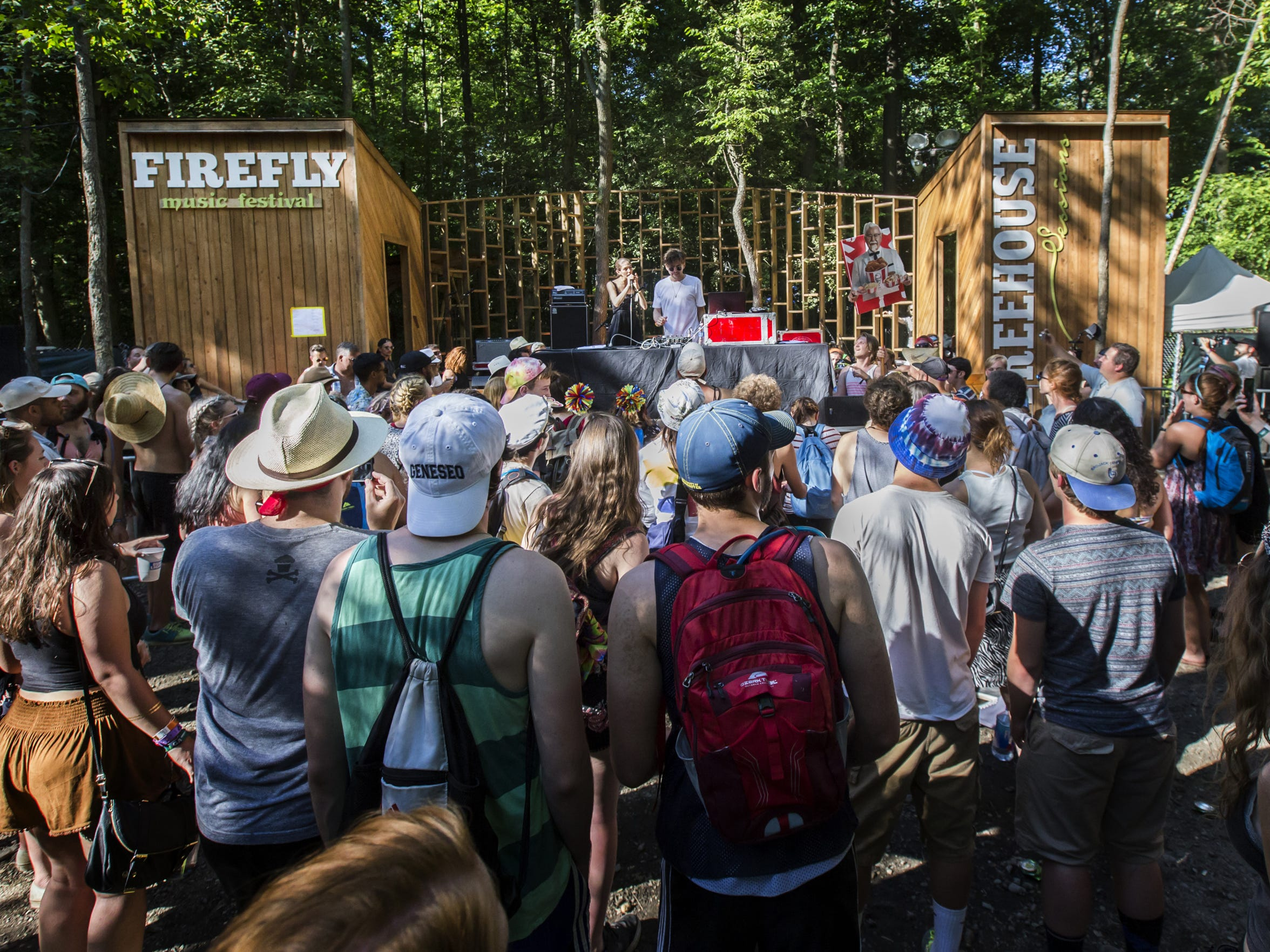 Firefly attendees hang out at the Treehouse stage as
