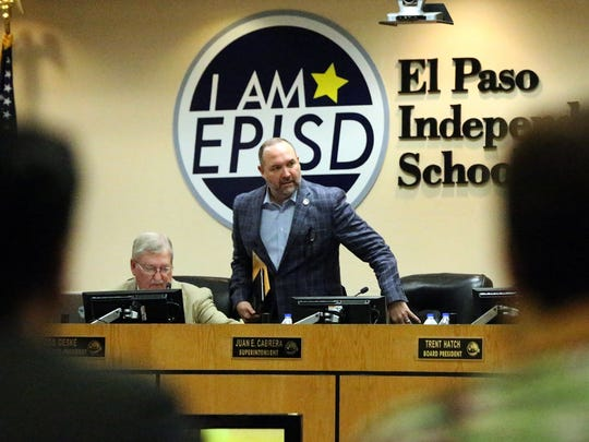 El Paso Independent School District Superintendent Juan Cabrera, center, said he'll bring a balanced budget to the district's board of trustees on June 21.