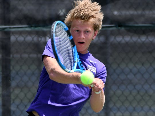 CPA's Nathan Irwin makes a return volley during the 2018 TSSAA Boys DII-A singles tennis championship.