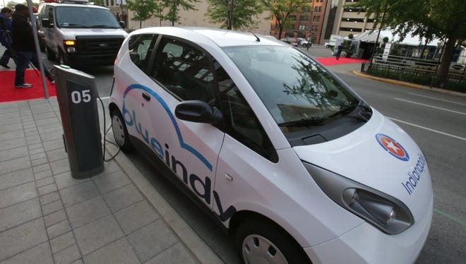 BlueIndy will have 20 charging/parking spaces for its electric rental vehicles at Indianapolis International Airport.