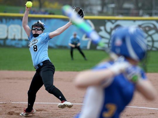 Bishop Kearney's  Emily Phelan, pitches against Irondequoit during a game last season.