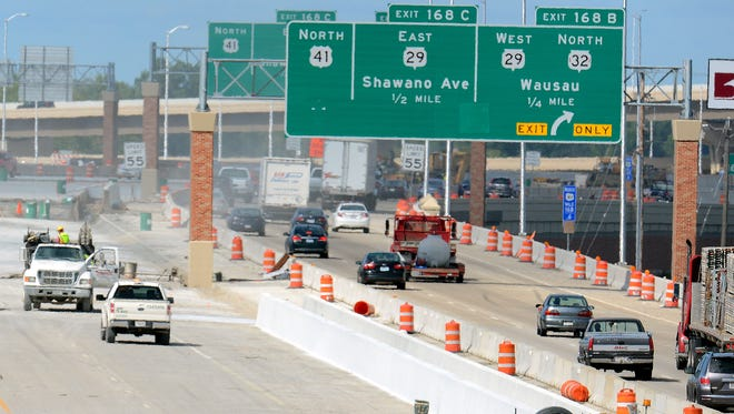 Construction continued on U.S. 41 on Green Bay's west side last month.