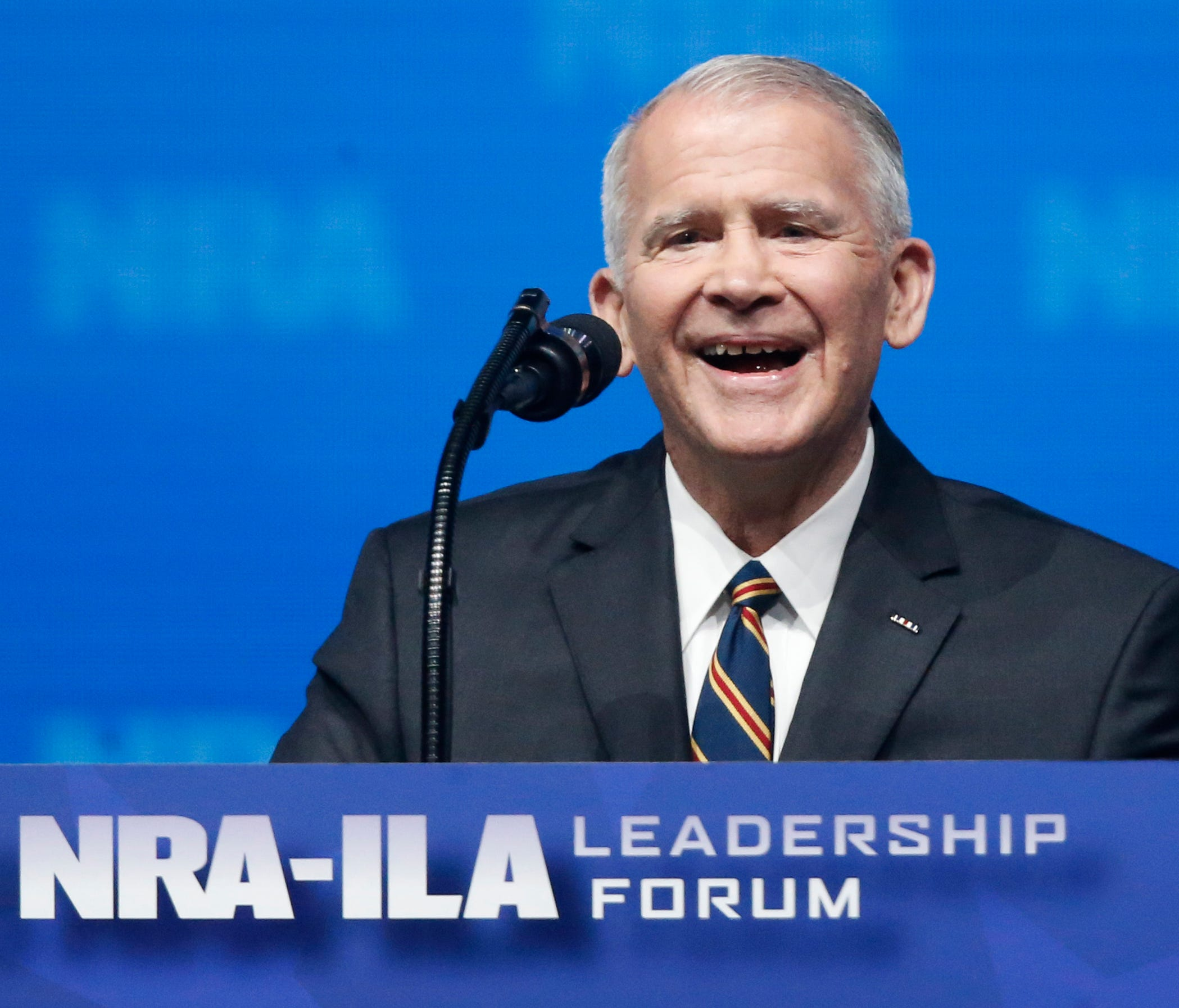 Former U.S. Marine Lt. Col. Oliver North speaks before giving the Invocation at the National Rifle Association-Institute for Legislative Action Leadership Forum in Dallas, May 4, 2018.