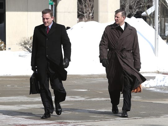 Attorneys for Lacey Spears, David Sachs and  Stephen Riebling enter Westchester County Courthouse on Mar. 2, 2015.