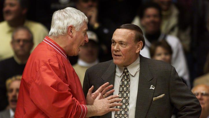 Indiana's Bobby Knight and Purdue's Gene Keady talk