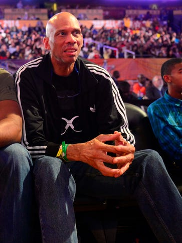 NBA legend Kareem Abdul-Jabbar watches 2014 All-Star