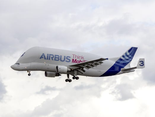 The Airbus A300-600ST Super Transporter, also known as the Airbus Beluga.