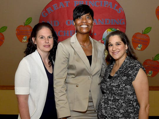 Top public school teachers also honored at the event, from left, Billie Cortez, Palmetto Elementary, Dr. Dona Robinson,  Port Barre High School, and Kristin Bullard, Leonville Elementary.
