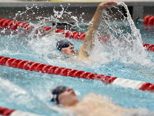 Chambersburg's Avery Barley swims the 100-yard backstroke for a second-place finish during the PIAA District 3 Class 3A swimming championships Saturday, March 4, 2017, at Cumberland Valley High School.