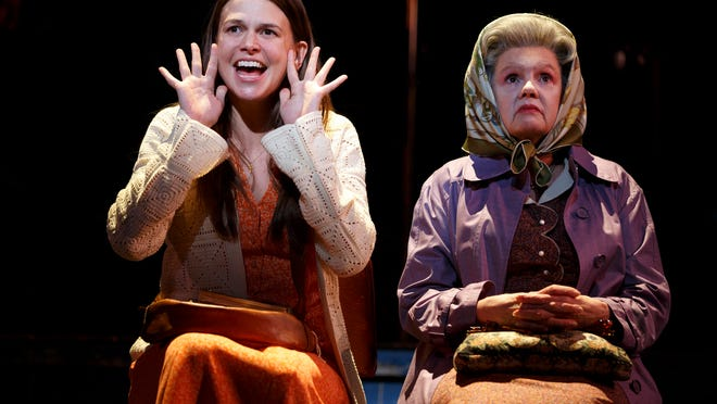 """Sutton Foster, left, and Annie Golden are shown during a performance of """"Violet"""" at the American Airlines Theatre."""
