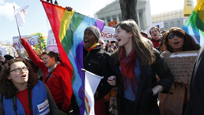 Supporters of same-sex marriage demonstrate in front of the Supreme Court in 2013.
