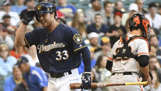 Brewers cente fielder Brett Phillips strikes out in his first major-league at bat.