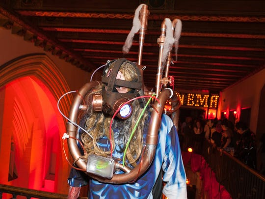 """Sean Comer of Waterford,MI, came dressed as """"The Steam Pipe Butcher"""" to Theatre Bizarre at the Masonic Temple on Saturday, October 17, 2015 in Detroit."""