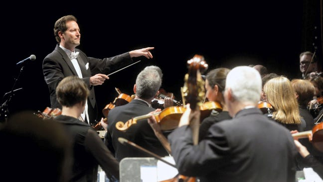 Lawrence Golan directs 77 musicians performing in his inaugural concert as conductor of the York Symphony Orchestra.