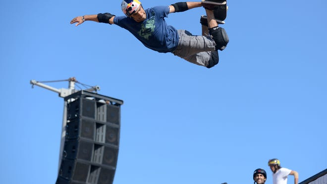 In this file photo, Sandro Dias performs during the SKB Vert Finals during the Dew Tour in Ocean City, Md. on Saturday, June 22, 2013. Organizers of the Jellyfish Festival hope to bring  a similar event to the Dew Tour to Ocean City.