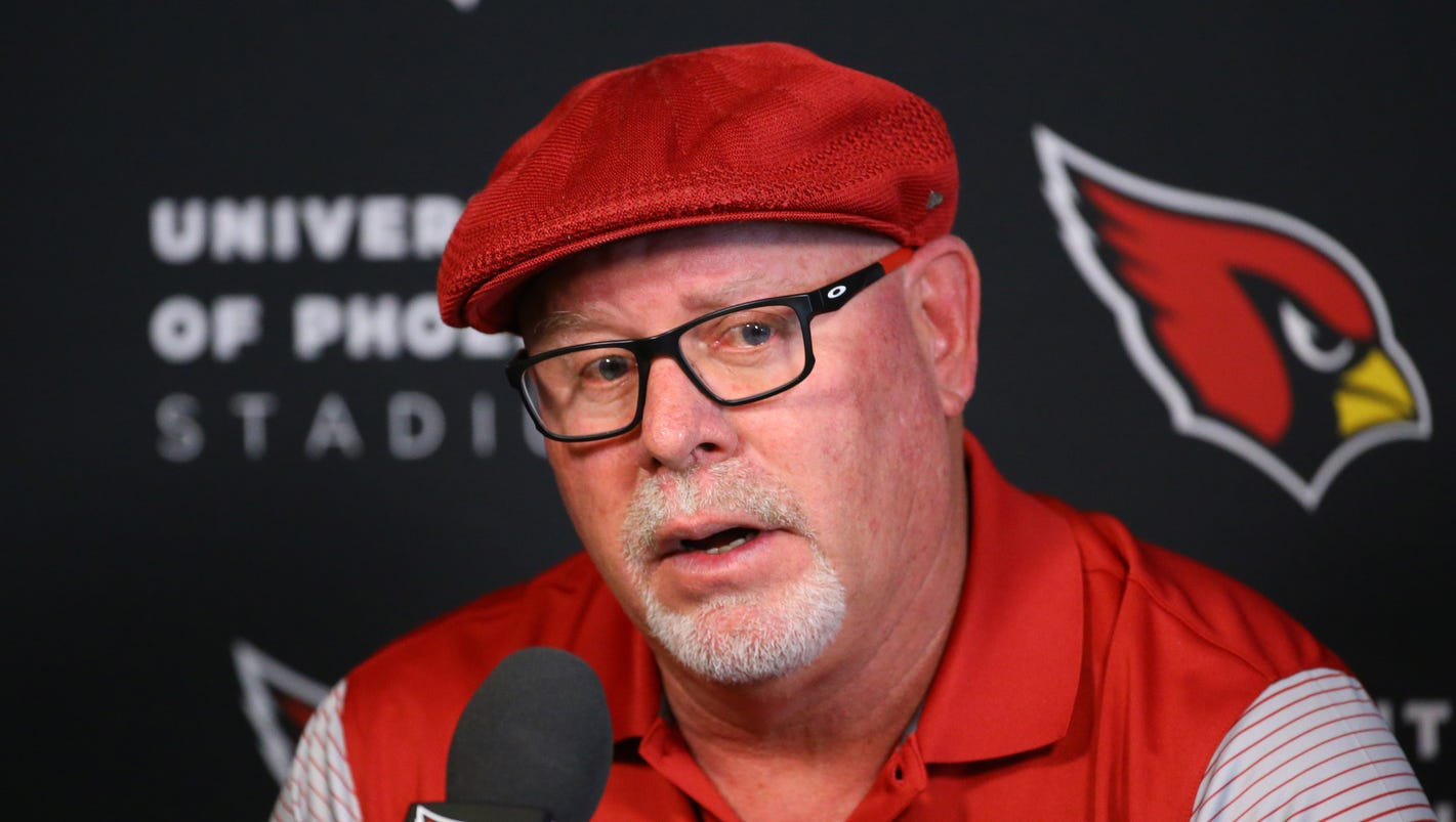 Bruce Arians gives a Press Conference at the University of Phoenix Stadium