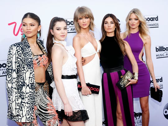 (L-R) Zendaya, Hailee Steinfeld, Taylor Swift, Lily Aldridge, and Martha Hunt arrive at the Billboard Music Awards at the MGM Grand Garden Arena on Sunday, May 17, 2015, in Las Vegas.