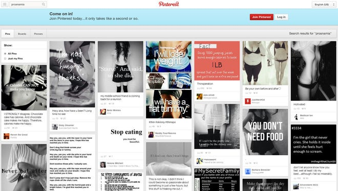 A Pinterest page showing images and messages from users that could potentially reinforce eating disorders including anorexia and bulimia.