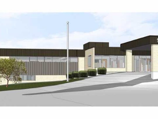 A rendering shows the exterior of Oconomowoc High School's