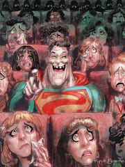 "A Kyle Baker cartoon for DC's ""Bizarro"" comic book."
