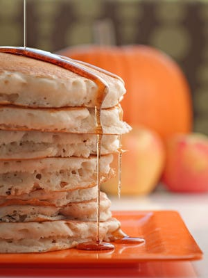 Fall pancakes include pumpkin, apple and pear.