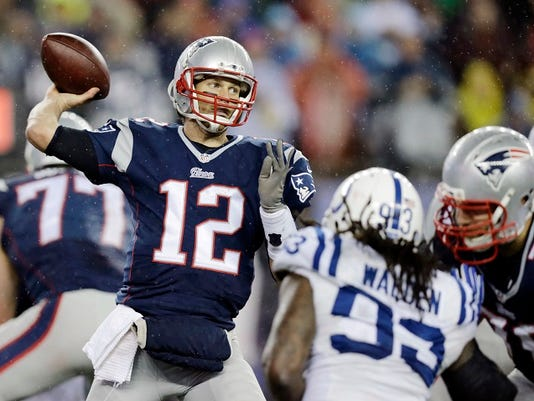 FILE - In this Jan. 18, 2015, file photo, New England Patriots quarterback Tom Brady (12)  passes against the Indianapolis Colts during the second half of the NFL football AFC Championship game in Foxborough, Mass.
