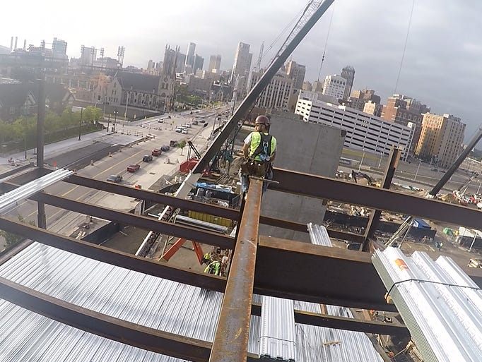 With a GoPro camera attached to his helmet, iron worker