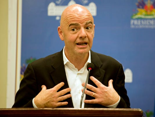 FIFA President Gianni Infantino gives a press conference at the National Palace in Port-au-Prince, Haiti, Saturday, April 29, 2017. Infantino is in Haiti for a one day visit, and will travel to Cuba in the evening. (AP Photo/Dieu Nalio Chery)