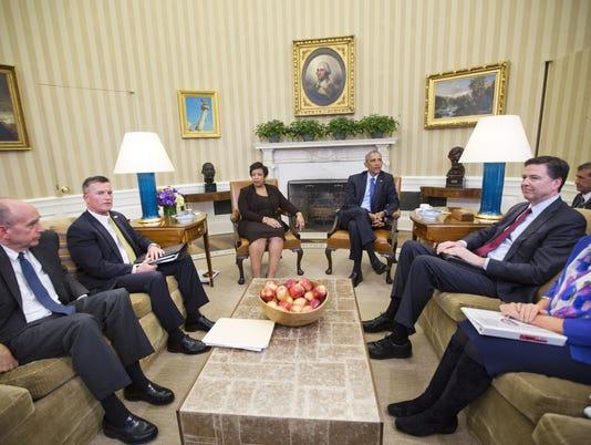 Barack Obama, Loretta Lynch, James Comey, Thomas Brandon, Neil Eggleston, Valerie Jarret