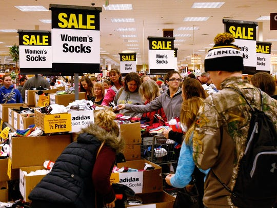 Shoppers seek out sale priced socks on Black Friday