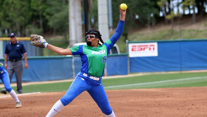FGCU freshman Riley Randolph pitches during the Atlantic Sun Conference Softball Championship opening game against Kennesaw State on Thursday. FGCU advanced to Friday afternoon's semifinal game with a 2-0 victory over Kennesaw State.