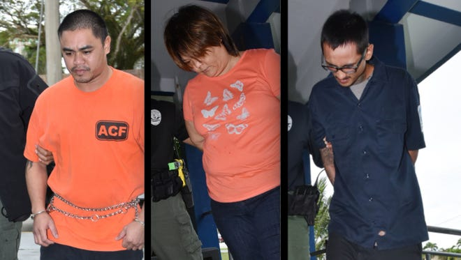 This combined image shows, from left, Domingo Chargualaf Mendiola, Jennifer Dydasco Santos, and Larry Ignacio Penarubia.