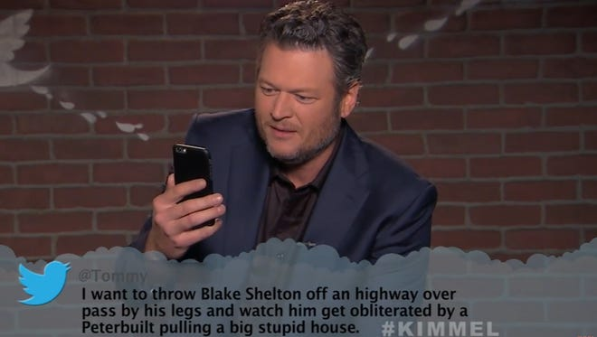 Blake Shelton was among the country stars reading 'Mean Tweets' on Wednesday night's episode of 'Jimmy Kimmel Live!'